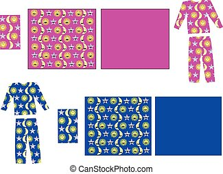 pajamas and bedding for children - vector