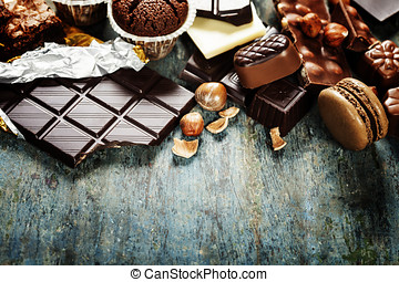 Chocolate - An assortment of white, dark, and milk chocolate...