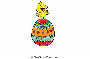 Easter check and large easter egg. - Illustration of a...