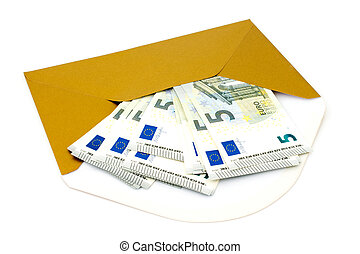 Envelope with money on white background - Corruption...