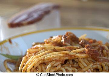 spaghetti allamatriciana - tasty Italian speciality:...