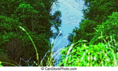 River Krka flow - The flow of the river Krka in a summer at...