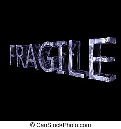 Fragile writing in crystal, over black background, 3d render