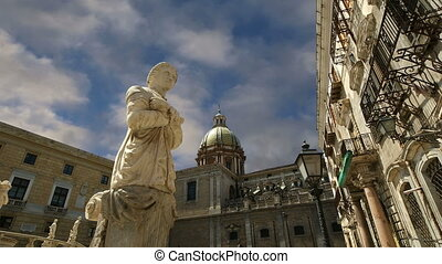 Fontana Pretoria in Palermo, Sicily is also called Fountain...