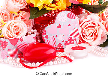 Valentines day - Colorful roses, candles, beads and gift box...
