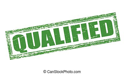 Qualified - Stamp with word qualified inside, vector...