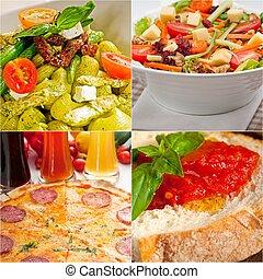 healthy Vegetarian vegan food collage nested on white frame