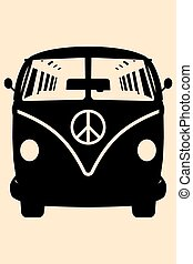 MiniVan Hippie Silhouette - Vector pop art illustration....