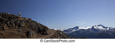 An Inukshuk on Whistler - Banner of an Inukshuk at the top...