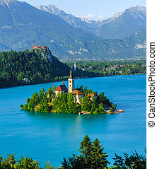 Catholic church on island, Bled - Catholic church situated...