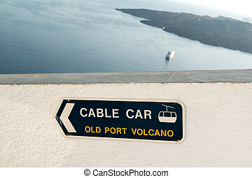 Cable car sign - Directional sign to cable car on Santorini...