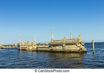 Stone breakwater barge at the Vizcaya Museum and Gardens on...