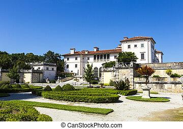Vizcaya Museum and Garden in Miami, Florida under blue sky