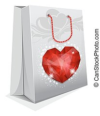 Paper bag - Vector illustration of paper bag with gem heart