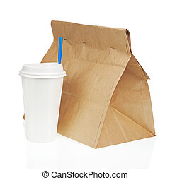 Recycle paper bag and cup of coffee or tea isolated on white...
