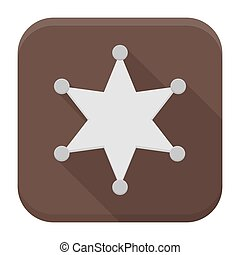 Sheriff star flat app icon with long shadow - Vector...