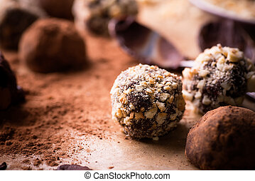 Assorted dark chocolate truffles with cocoa powder, biscuit...