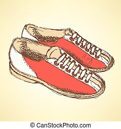 Sketch bowling shoes in vintage style, vector
