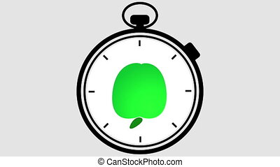 Stopwatch Healthy Apple Symbol