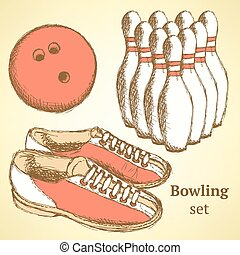 Sketch bowling set in vintage style, vector
