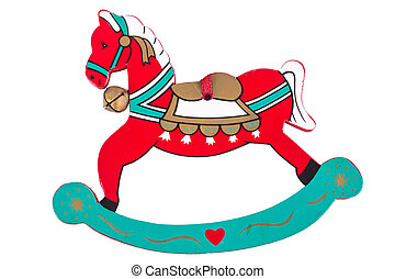 Rocking horse - Christmas toy, Rocking horse isolated on...