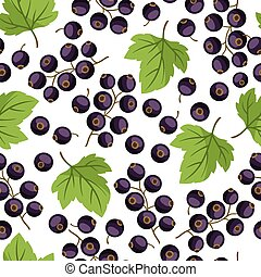Seamless nature pattern with black currants. - Seamless...