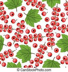 Seamless nature pattern with red currants. - Seamless nature...