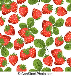 Seamless nature pattern with strawberries. - Seamless nature...