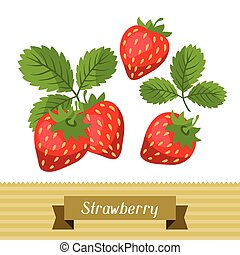 Set of various stylized strawberries - Set of various...