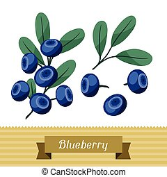 Set of various stylized blueberries. - Set of various...