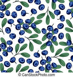 Seamless nature pattern with blueberries. - Seamless nature...