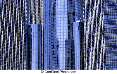 Renaissance center - Tall blue glass building in downtown...