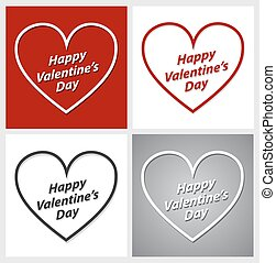 Set of Valentines Day hearts over red, grey and white backgrounds.