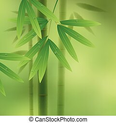 Bamboo - Green background with bamboo stems and leaves...