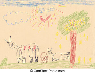 Child picture of 2 animals on the meadow with large smiling...