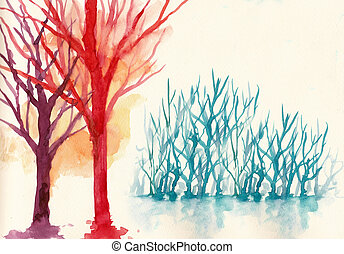 colorful trees in winter background water colour painting
