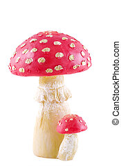 Toadstool - Red spotted toadstool on a white background