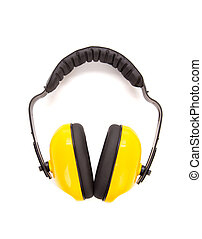 Yellow protective ear muffs. Isolated on a white background.