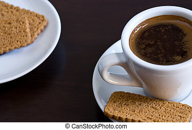 Cup of Coffee -  Cup of  Coffee with biscuits.