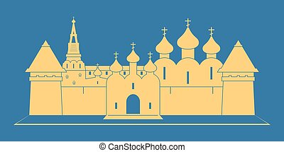 Monastery - Silhouette of Russian orthodox monastery. Vector...