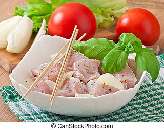 pieces of meat for barbecue - Prepared marinated with onions...