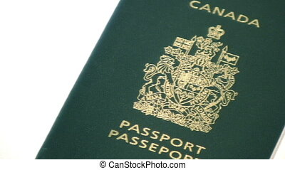 Panning across an isolated Canadian passport - Panning...