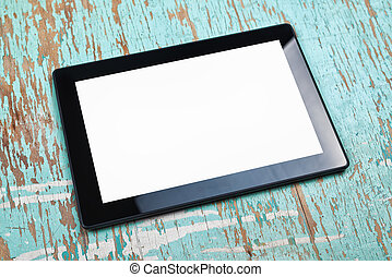 Digital Tablet Computer With Blank White Screen - Digital...