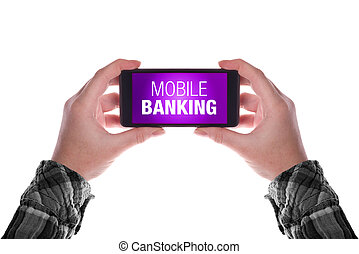 Mobile Banking - Smartphone in female hand with mobile...