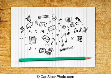 Doodle Multimedia Icons on Paper - Doodle Sketched...