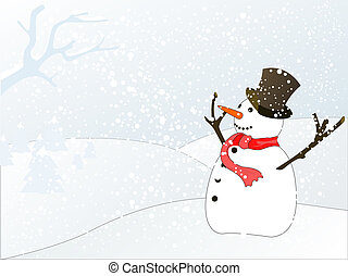 snowman - vector illustration of winter landscape with...