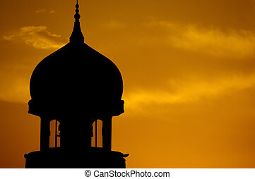 Mosque silhouette. - Mosque silhouette landscape during...