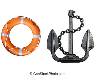 Lifebuoy and anchor - Anchor with lifebuoy isolated over a...