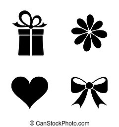 Valentine icons - Simple black vector happy valentine icons...