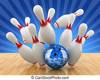 Bowling pin. 3D illustration.